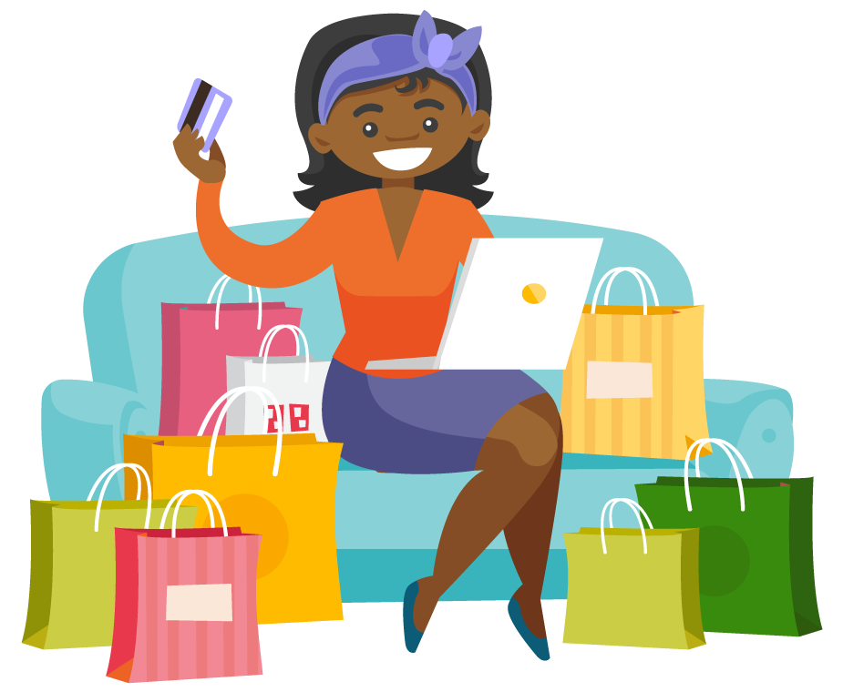 Cartoon lady holding a credit card with a laptop on her lap. She is about ready to make an online purchase.